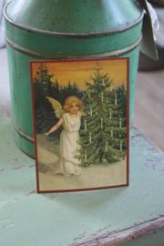 """ansichtkaart met glitter """"Engel met kerstboom"""""""