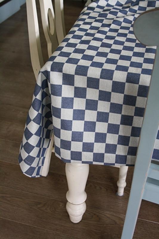 """prachtig landelijk tafelkleed """"Elias pompdoek blauw"""" 160 x 250 cm"""