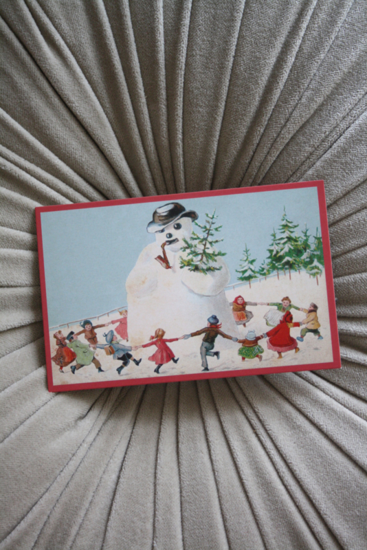 "mooi kaartje ""dansen om de sneeuwpop"""