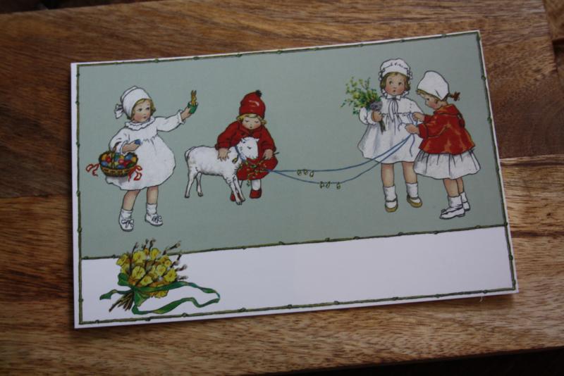 """schattig kaartje """"Lammetjes aaien"""""""