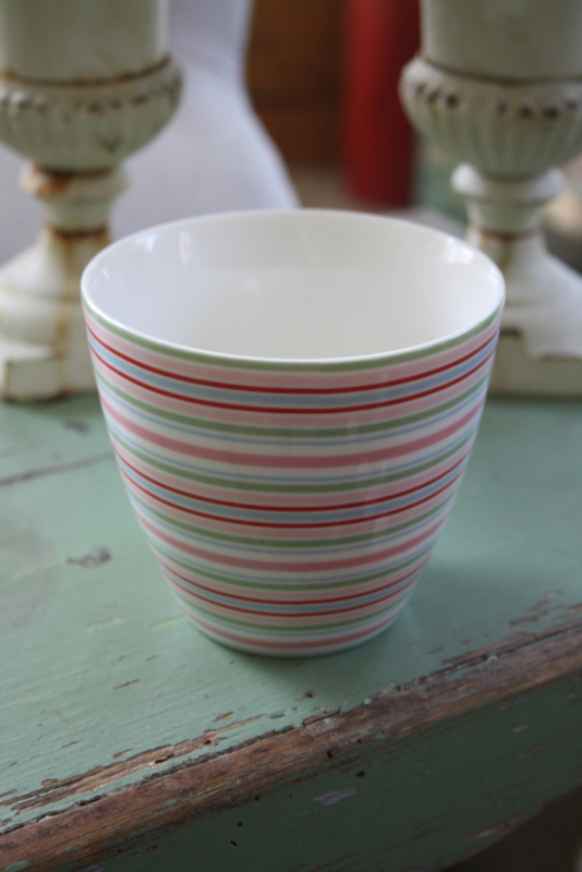 Latte cup Silvia stripe white