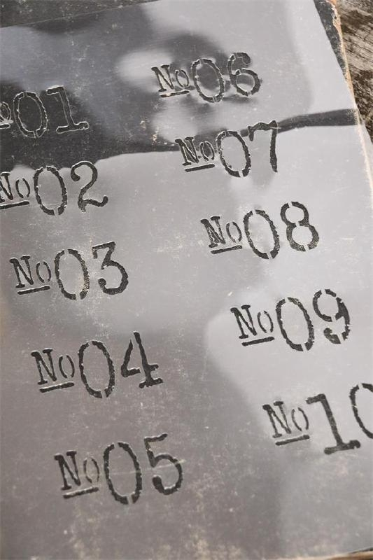 Stencil with numbers