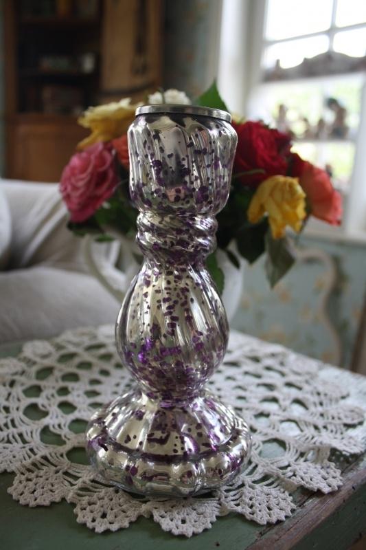 """mooie silverlook glazen kandelaar """"purple spots"""""""