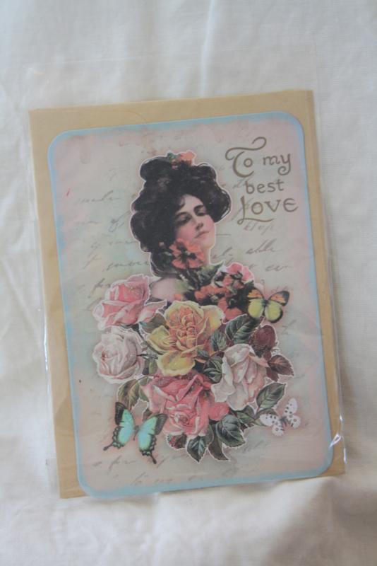 """dubbele kaart met envelop """" to my best love"""""""