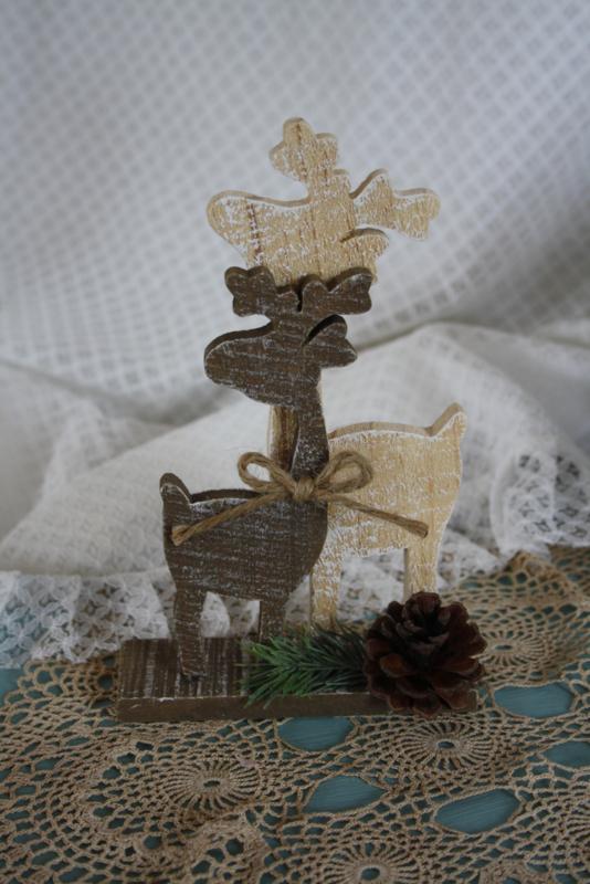 leuk houten tafereel met rendieren