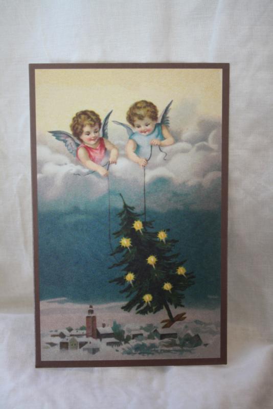 """ansichtkaartje """" engeltjes brengen de kerstboom"""""""