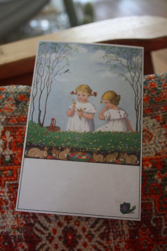 "ansichtkaartje ""verstoppertje met de konijntjes"""