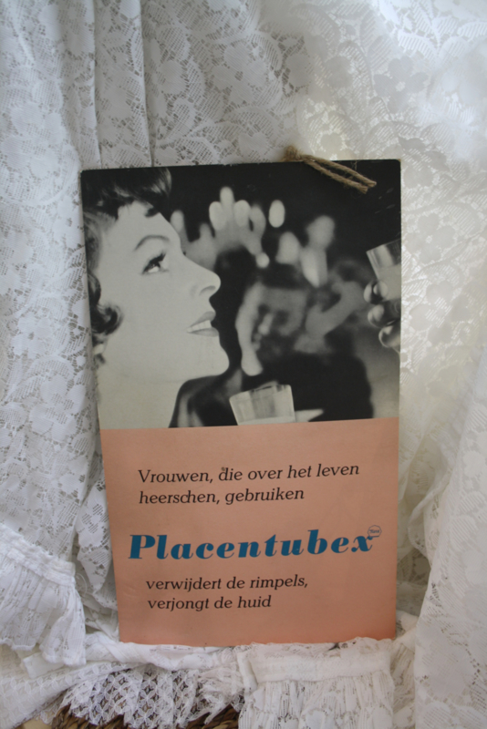 """kartonnen reclameplaat uit 1950/1960   """"Placentubex"""""""