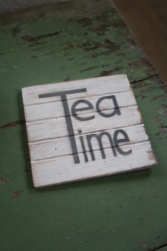 """dun houten onderzetter """"Tea Time"""""""