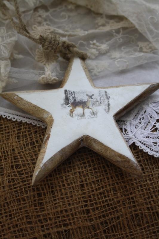 """mooie houten ster aan touw """"Hertje S"""""""