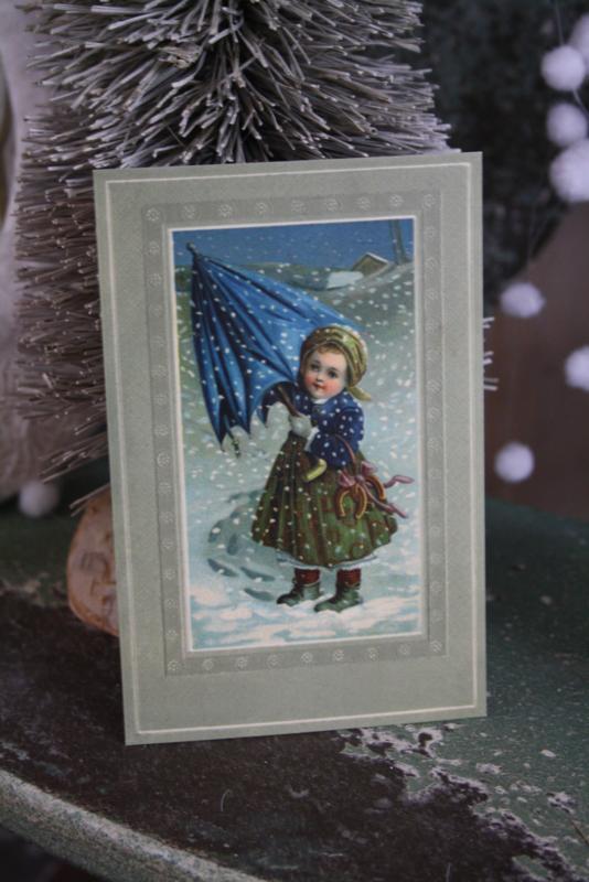 """schattig kaartje """" meisje met de blauwe paraplu"""""""