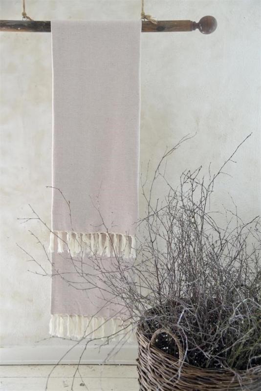 grote handdoek met franje in creme/vintage
