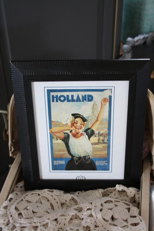 """mooie donker houten lijst met reclameprent """"Holland"""""""