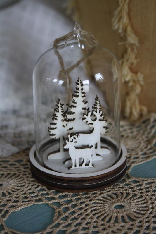 mooie glazen hanger met houten rendieren