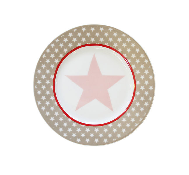 """Happy plate """"Taupe big star"""""""