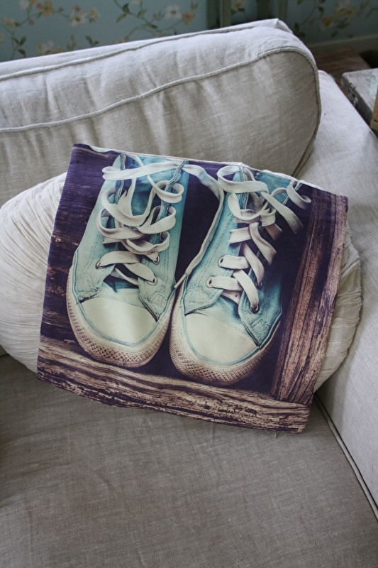 superleuke kussenhoes met sneakers in blauw