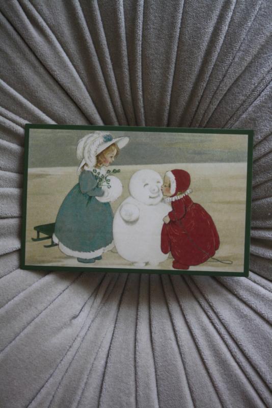 """mooi kaartje """"kusje voor de sneeuwpop"""""""