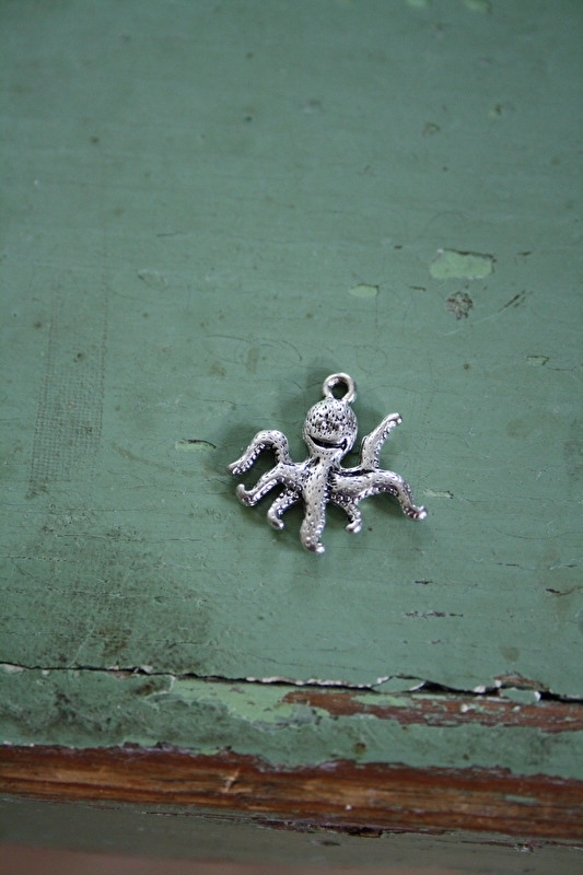 """metalen bedeltje """"octopus"""""""
