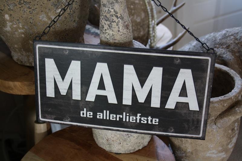 """ijzeren tekstbord aan ketting """"Mama"""""""