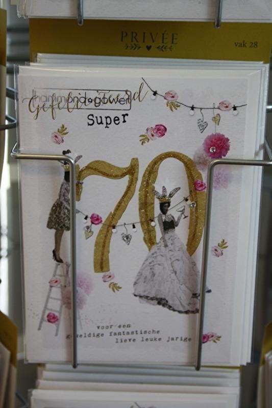 """Gefeliciteerd super 70 """"voor een geweldige, fantische , lieve, leuke jarige"""""""
