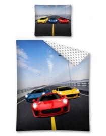 Sport auto's dekbedovertrek Rood geel blauw