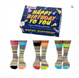 Oddsocks - Cadeaudoos met 6 verschillende sokken Happy Birthday to You - Blauw doosje- maat 39-46