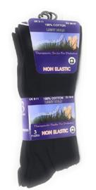 100% katoenen heren sokken 3 paar zwart, non elastic boorden  mt 39 - 45