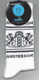 Amsterdam sokken wit met antraciet maat 40 - 45