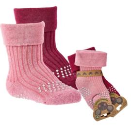 anti slip sokken - bio katoen - Krabbel sokken  2 paar - maat 74/86