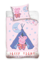 Peppa Pig sleep tight dekbedovertrek in ledikant maat