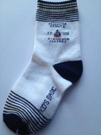 6008 sokken maat 31-34 Wit met donkerblauw Freedom Spirits met zeilboot