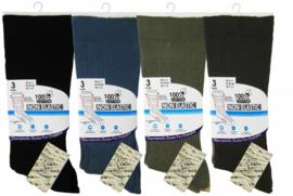 Diabetes therapeutische 100% katoenen sokken 3 paar willekeurige kleuren, non elastisch, platte teennaad , mt 39 - 45