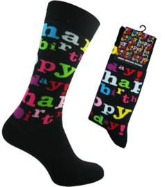 Happy Birthday sokken  -  maat 39 - 46