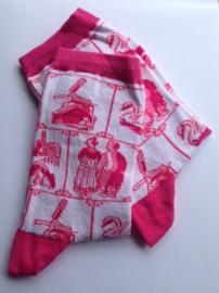 Holland souvenir sokken Delfts Roze - maat 36 tot 42