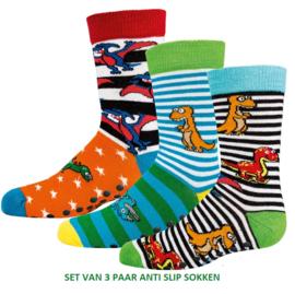 Anti slip sokken dino - set van 3 paar - maat 19-22