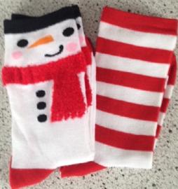 Rood/wit sokken sneeuwman en gestreept 2 paar maat 35 - 38