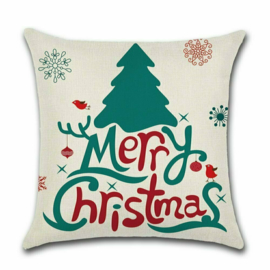 Kerst sierkussenhoesje maat 45x45 - Boom Merry Christmas