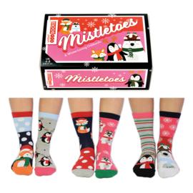 Oddsocks Mistletoes  - Cadeaudoos met 6 verschillende kerst sokken - maat 37-42
