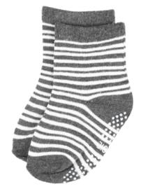 4808 antislip sokken grijs met off-white kleine streepjes