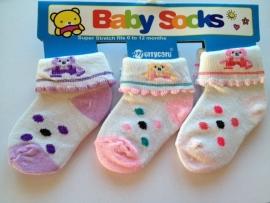 babysokjes model C set van 3 paar van 0 tot 12 maanden
