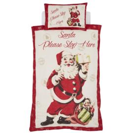 Kerst dekbedovertrek Retro Santa  Please Stop Here - tweepersoons met 2 kussenslopen