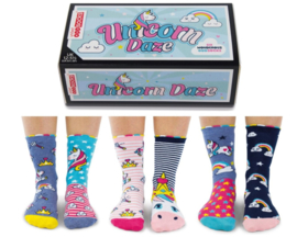 Oddsocks - Mismatched sokken - Cadeaudoos met 6 unicorn sokken - maat 30,5 tot 38,5