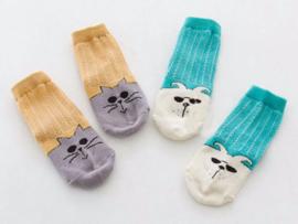 4665 Antislip sokken set van 2 paar grijs/okergeel  en groen/offwhite