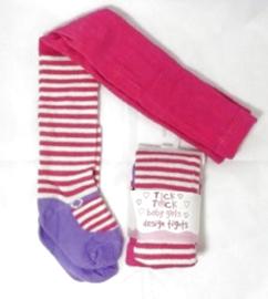 4757 Tick Tock baby maillot fuchsia met strepen en paars ballerina voetje
