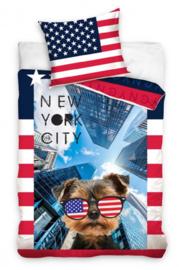 New York City fantasie eenpersoons dekbedovertrek met kussensloop