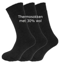 Thermosokken 30% wol, zonder knellend boord, set van 3 paar, zwart, maat 39 - 45