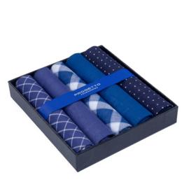 Cadeau doosje heren zakdoeken - 5 x katoenen zakdoek - Marine