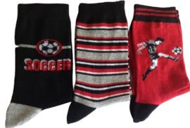 Voetbal sokken set van 3 paar maat 27-30 Soccer