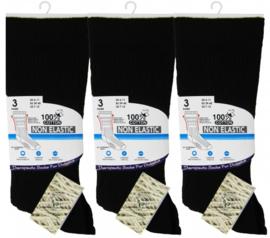 Diabetes therapeutische 100% katoenen sokken 3 paar zwart, non elastisch, platte teennaad , mt 39 - 45