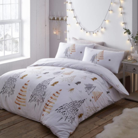 Christmas Trees Gold - kerst dekbedovertrek - lits jumeaux met 2 kussenslopen